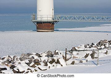 Base of a big offshore windturbine in a frozen sea
