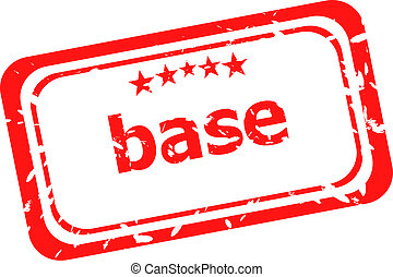 base on red rubber stamp over a white background