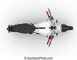Base white modern powerful motorcycle - top down view