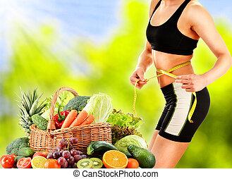 baseado, legumes, dieta, cru, dieting., equilibrado, ...