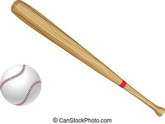 baseball ütő, és, labda