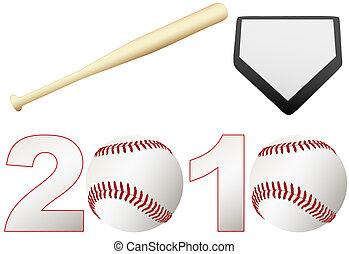 Announce the 2010 Baseball Season games with a set baseballs, a bat, and a home base.