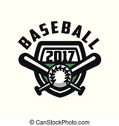 Baseball 2017 logo template, design element for, badge, banner, emblem, label, insignia vector Illustration on a white background