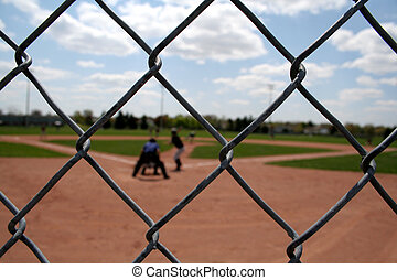 Baseball Action through the Links - A view through the chain...