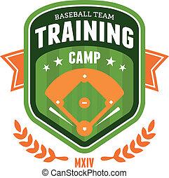 baseball, addestramento, campeggiare, emblema