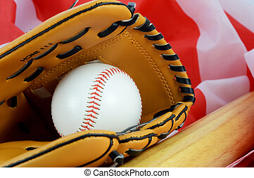 Baseball American Pastime - A still-life of a mitt and ball ...