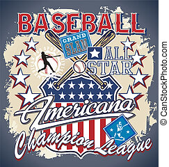 BASEBALL AMERICANA - baseball vector for shirt printed and...
