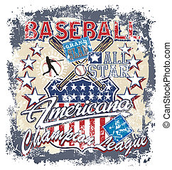 BASEBALL AMERICANA crack - baseball vector for shirt printed...