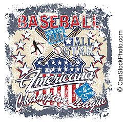 baseball, americana, trzaskać