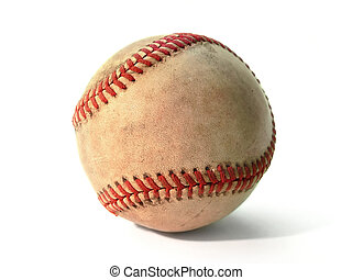 Baseball - An old worn baseball isolated on white background