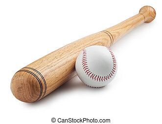 Baseball and baseball bat on white background