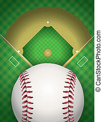 Baseball and Baseball Field Illustration - An illustration...