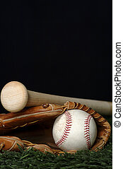 Baseball and Bat on black