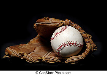 Baseball and Glove on black