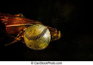 Baseball and Glove Rustic