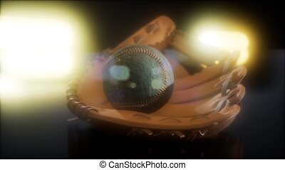 Baseball and Mitt at Dark Background