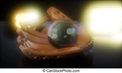 Baseball and Mitt at Dark Background