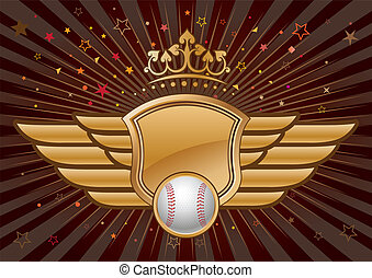 baseball and shield with wings