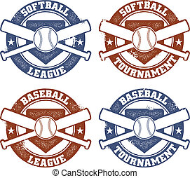 Baseball and Softball League Stamps