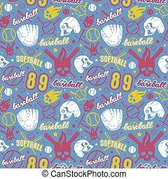 Baseball and softball seamless pattern. Color print on blue...