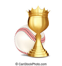 Baseball Award . Baseball Ball, Golden Cup. Banner Advertising. Sport Event Announcement. Competition Announcement, Game, League Design. Championship Illustration