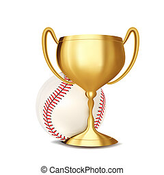 Baseball Award . Baseball Ball, Golden Cup. Sports Game Event Announcement. Baseball Banner Advertising. Professional League. Sport Invitation. Stadium. Event Illustration