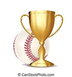 Baseball Award Vector. Baseball Ball, Golden Cup. For Sport...