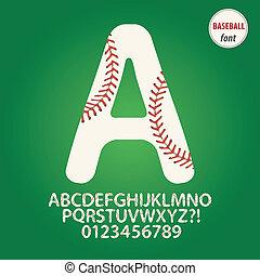 Baseball Ball Alphabet and Digit Vector