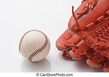 Baseball ball and glove
