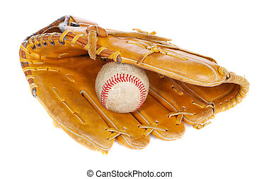 Baseball ball and mit - Baseball ball and glove, isolated on...