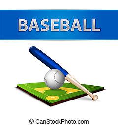 Baseball Ball Bat and Green Field Emblem