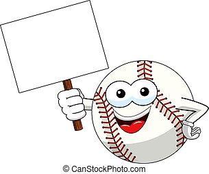 baseball ball character mascot cartoon holding blank banner...