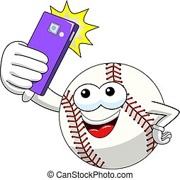 baseball ball character mascot cartoon vector taking selfie shot smartphone isolated