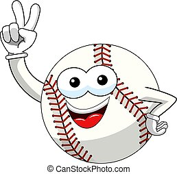baseball ball character mascot cartoon victory sign gesture vector isolated