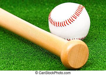 Baseball Bat And Ball On Grass Near Field Stripe A