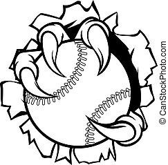 Baseball Ball Eagle Claw Talons Tearing Background