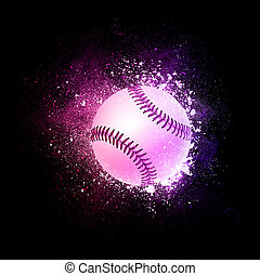 Baseball Ball flying in violet particles.