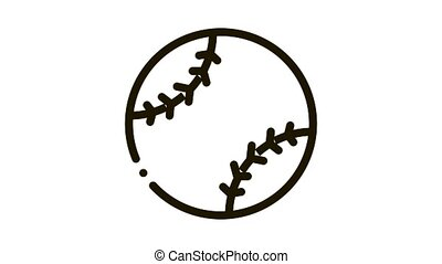 Baseball Ball Icon Animation. black Baseball Ball animated icon on white background