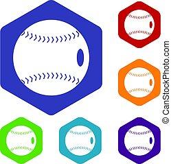 Baseball ball icons set hexagon