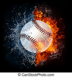 Baseball Ball in Fire and Water. 2D Graphics. Computer...