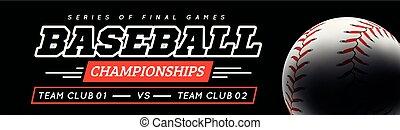 Baseball ball in the backlight on black background.