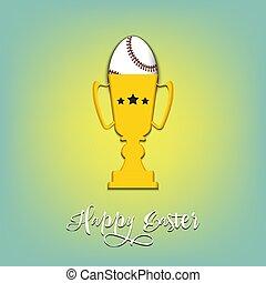 Baseball ball in the form of egg in goblet