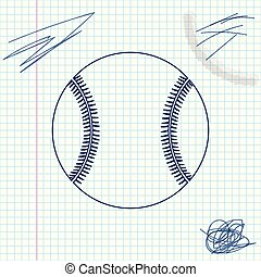 Baseball ball line sketch icon isolated on white background. Vector Illustration