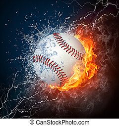 Baseball Ball on Fire and Water. 2D Graphics. Computer ...