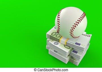 Baseball ball on stack of money
