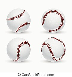 Baseball ball, softball, equipment vector icons