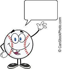 Baseball Ball Waving For Greeting