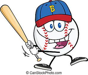 Baseball Ball With A Baseball Bat