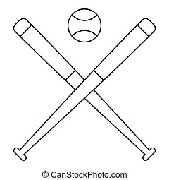 Baseball ball with bats icon, outline style