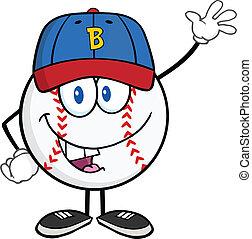 Baseball Ball With Cap Waving